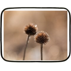 Withered Globe Thistle In Autumn Macro Double Sided Fleece Blanket (Mini)