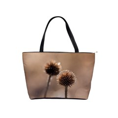 Withered Globe Thistle In Autumn Macro Shoulder Handbags by wsfcow