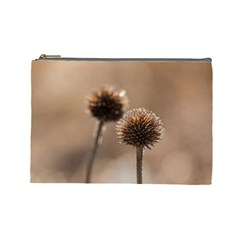 Withered Globe Thistle In Autumn Macro Cosmetic Bag (large)  by wsfcow