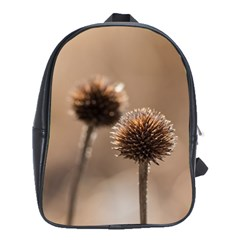 Withered Globe Thistle In Autumn Macro School Bags(large)  by wsfcow