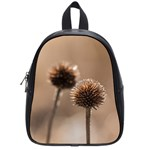 Withered Globe Thistle In Autumn Macro School Bags (Small)
