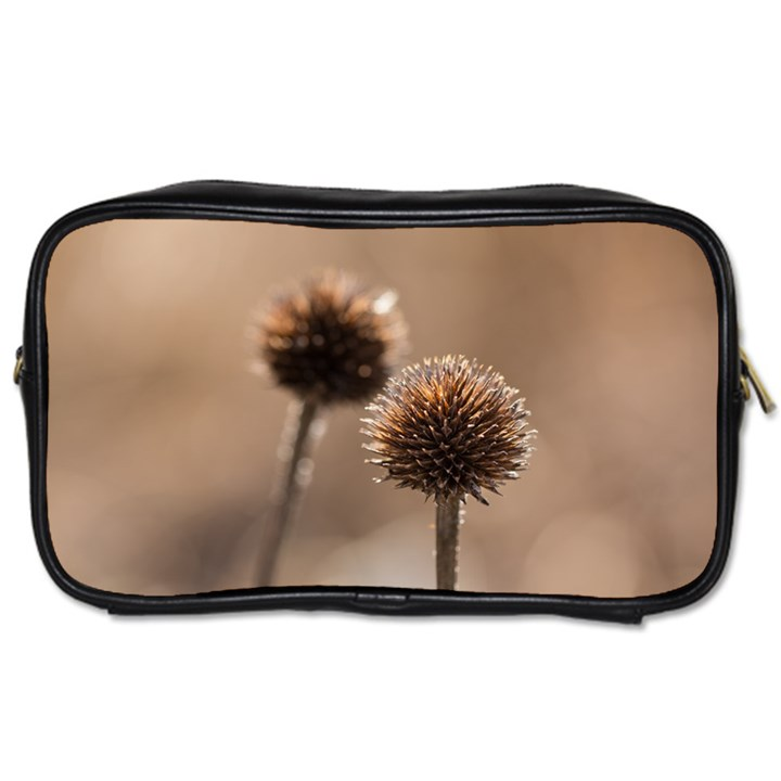 Withered Globe Thistle In Autumn Macro Toiletries Bags