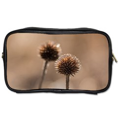 Withered Globe Thistle In Autumn Macro Toiletries Bags 2 Side by wsfcow