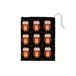 Halloween brown owls  Drawstring Pouches (Small)
