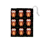 Halloween brown owls  Drawstring Pouches (Medium)
