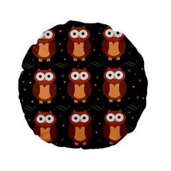 Halloween Brown Owls  Standard 15  Premium Flano Round Cushions
