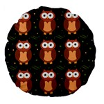 Halloween brown owls  Large 18  Premium Flano Round Cushions Back