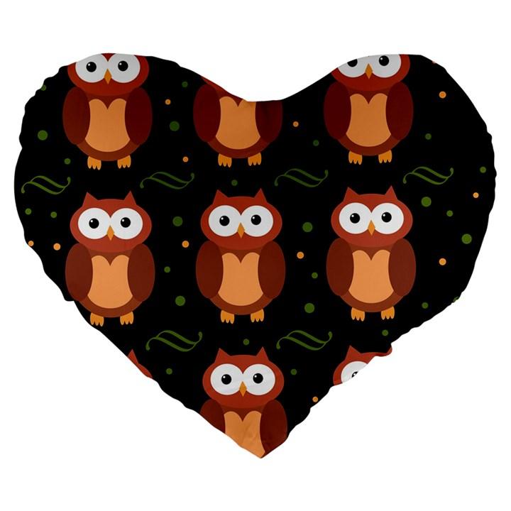 Halloween brown owls  Large 19  Premium Flano Heart Shape Cushions