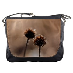 Withered Globe Thistle In Autumn Macro Messenger Bags by wsfcow