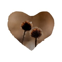 Withered Globe Thistle In Autumn Macro Standard 16  Premium Heart Shape Cushions by wsfcow