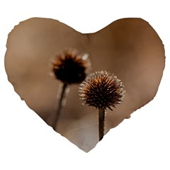 Withered Globe Thistle In Autumn Macro Large 19  Premium Heart Shape Cushions