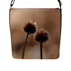 Withered Globe Thistle In Autumn Macro Flap Messenger Bag (l)  by wsfcow
