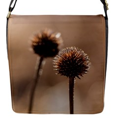 Withered Globe Thistle In Autumn Macro Flap Messenger Bag (s) by wsfcow