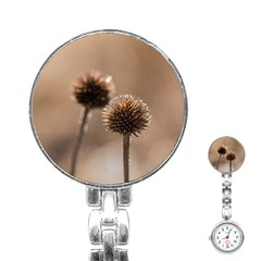 Withered Globe Thistle In Autumn Macro Stainless Steel Nurses Watch by wsfcow