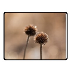 Withered Globe Thistle In Autumn Macro Double Sided Fleece Blanket (small)  by wsfcow