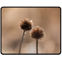 Withered Globe Thistle In Autumn Macro Double Sided Fleece Blanket (medium)  by wsfcow
