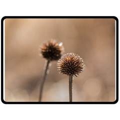 Withered Globe Thistle In Autumn Macro Double Sided Fleece Blanket (large)  by wsfcow