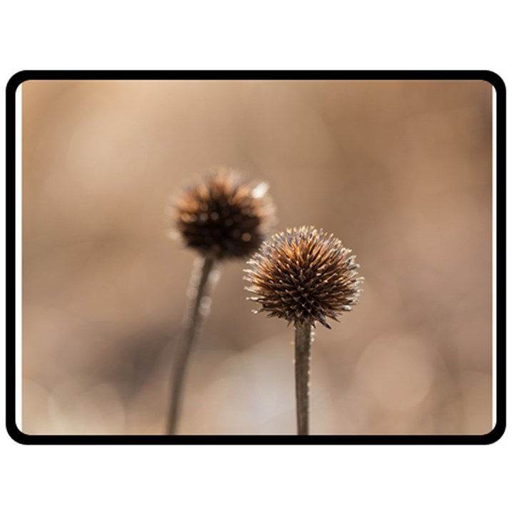 Withered Globe Thistle In Autumn Macro Double Sided Fleece Blanket (Large)