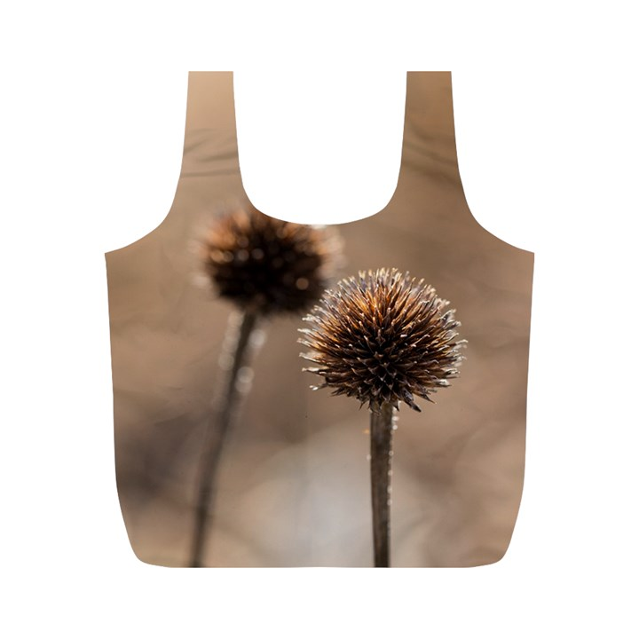 Withered Globe Thistle In Autumn Macro Full Print Recycle Bags (M)