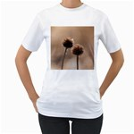 Withered Globe Thistle In Autumn Macro Women s T-Shirt (White)