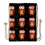 Halloween brown owls  Drawstring Bag (Large)