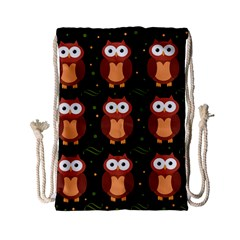 Halloween brown owls  Drawstring Bag (Small)
