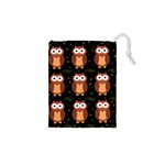 Halloween brown owls  Drawstring Pouches (XS)  Front