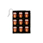 Halloween brown owls  Drawstring Pouches (XS)  Back