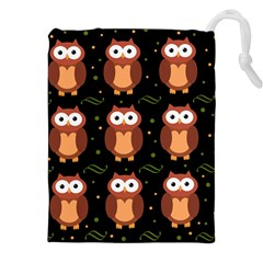 Halloween brown owls  Drawstring Pouches (XXL)