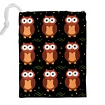 Halloween brown owls  Drawstring Pouches (XXL) Back