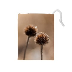 Withered Globe Thistle In Autumn Macro Drawstring Pouches (medium)  by wsfcow