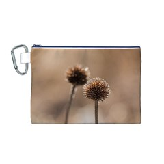 Withered Globe Thistle In Autumn Macro Canvas Cosmetic Bag (m) by wsfcow