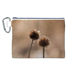 Withered Globe Thistle In Autumn Macro Canvas Cosmetic Bag (l) by wsfcow