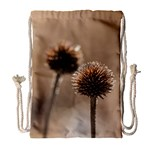 Withered Globe Thistle In Autumn Macro Drawstring Bag (Large)