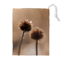 Withered Globe Thistle In Autumn Macro Drawstring Pouches (extra Large)