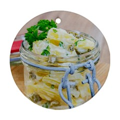 Potato salad in a jar on wooden Ornament (Round)