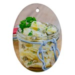Potato salad in a jar on wooden Ornament (Oval)  Front