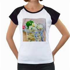Potato Salad In A Jar On Wooden Women s Cap Sleeve T