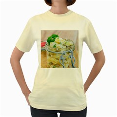 Potato Salad In A Jar On Wooden Women s Yellow T Shirt by wsfcow