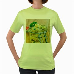 Potato salad in a jar on wooden Women s Green T-Shirt
