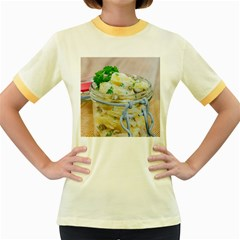 Potato salad in a jar on wooden Women s Fitted Ringer T-Shirts