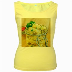 Potato Salad In A Jar On Wooden Women s Yellow Tank Top by wsfcow