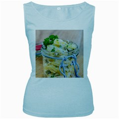 Potato salad in a jar on wooden Women s Baby Blue Tank Top