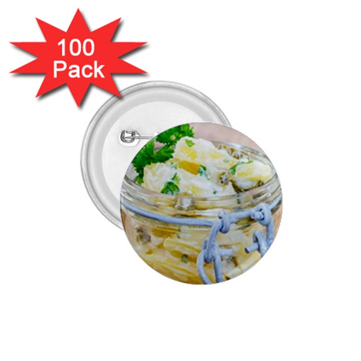 Potato salad in a jar on wooden 1.75  Buttons (100 pack)