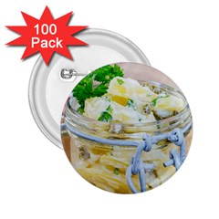 Potato Salad In A Jar On Wooden 2 25  Buttons (100 Pack)