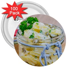 Potato Salad In A Jar On Wooden 3  Buttons (100 Pack)  by wsfcow
