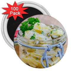 Potato Salad In A Jar On Wooden 3  Magnets (100 Pack) by wsfcow