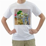 Potato salad in a jar on wooden Men s T-Shirt (White) (Two Sided) Front