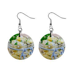 Potato Salad In A Jar On Wooden Mini Button Earrings
