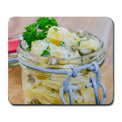 Potato salad in a jar on wooden Large Mousepads